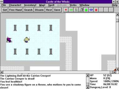 screenshot from Castle of the Winds, a video game from 1993